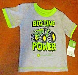 John Deere boys short sleeve gray T-shirt, light green trim, BIG TIME POWER'