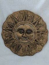 Gold Sunburs Face with stars  wall hanging decor stepping stone 9 1/2 in