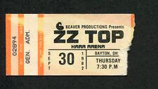 1982 Zz Top Concert Ticket Stub Dayton Oh El Loco Pearl Necklace