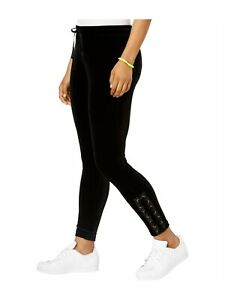 Material Girl Active Juniors Size L Black Velour Lace-Up Pants