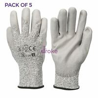 5 x CUT 5 Gloves Kevlar Pollycoton Mix With PU Palm Very Strong Protection