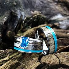 Set Turquoise Sapphire Wedding rings Engagement 3 pc His Her Deer Antler Rings