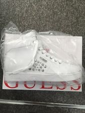 Guess Womens Embossed Studs High-Top Sneakers (White ) Shoes (NEW)