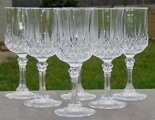 Service de 6 verres à eau en cristal d'Arques, modèle Longchamp. H. 18,3