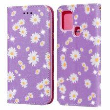 Handyhülle für Samsung Galaxy A21s Schutztasche Blumen Wallet Glitzer Violett