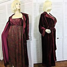 NWT $206 CABERNET 2pc ROBE & NIGHTGOWN MEDIUM BURGUNDY FLORAL VELVETSILK BLEND