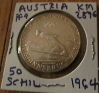 Austria 50 Schilling Silver Coin Proof 1964 Olympics Innsbruck - Ski Jumper # 4