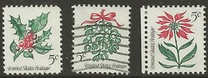 1964 U.S. #1254 5¢ Xmas Holly U.S. #1255 5¢ Mistletoe U.S. #1256 5¢ Poinsettia