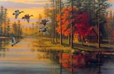 "Mary Pettis "" Autumn Glow"" Duck Cabin "" Print  20.75"" x 13.5"""