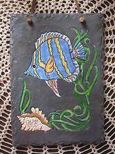 SLATE WALL PLAQUE HAND PAINTED OCEAN THEME BLUE & YELLOW FISH, SEASHELL, SEAWEED