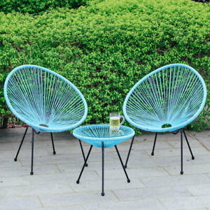 3pcs Outdoor Rattan Garden Bistro Set Round Glass Coffee Table & 2 Egg Chairs
