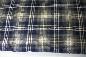 cotton blend flannel shirt fabric navy/gray/ivory BTY