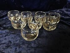 Vintage VIP Roly Poly Clear Glass Drink Tumblers Black & Gold Barware 8 - 4oz