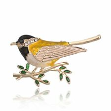 Large Vintage Animals Vivid Bird Gold Vivid Lapel Pin Rhinestone Brooch Crystal