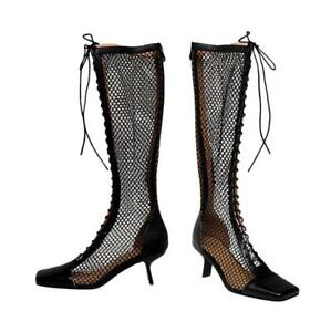 Elegant Women's Square Toe Stilettos Mesh Breathable Knee High Boots Sandals L