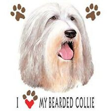 I Love My Bearded Collie Heat Press Transfer for T Shirt Sweatshirt Fabric #811a