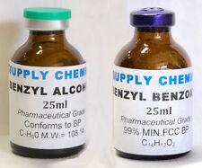 BENZYL BENZOATE & BENZYL ALCOHOL 25ml each PHARMACEUTICAL GRADE BP/USP