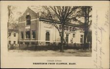Clinton MA Carnegie Library c19085 Used Real Photo Postcard