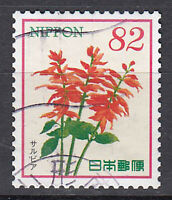Japan Briefmarke gestempelt 82y Blume Pflanze Flora Fauna Zeichnung orange /1514