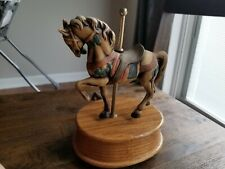 Beautiful Carousel Horse Music Box By Willitts (Carousal Waltz - 60) Oak Stand