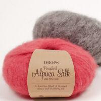 DROPS BRUSHED ALPACA SILK 77% BABY ALPACA 23%SILK Fluffy Knitting Yarn 25g