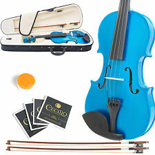 MENDINI SIZE 1/32 SOLIDWOOD VIOLIN METALLIC BLUE +TUNER+CASE+EXTRA BOW & STRING