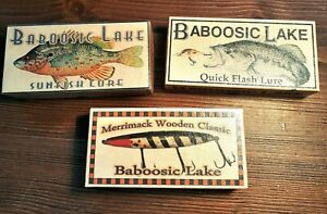 Baboosic Lake New Hampshire fishing lure boxes make excellent lake decorations