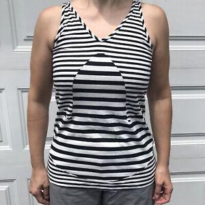 Adidas Full Bleed Wrap Stripes Tank Top Black & White M Cotton Health Goth