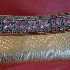 Lovely quality GOLD faux snakeskin jewelled clutch evening special occasion bag
