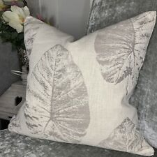 """Cushion Cover 16"""" X 16"""" Designer iLiv Fabric """"Laurie"""" Leaf Natural Grey"""