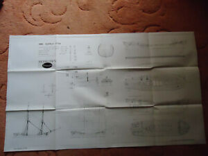 """Modellers draught plans of HMS Supply scale 18th century model LOA 14"""" Beam 4"""""""