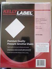 "kelly label #77518A premium quality pressure sensitive sheets 8.5""x11"" 100 Sheet"