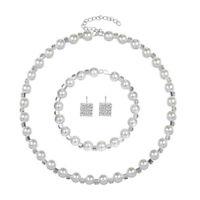 Fashion Women Crystal Pearl Necklace Earrings Bracelet Wedding Jewelry Set HOT