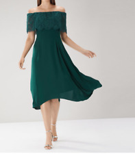 New Coast Oriel Lace Bardot Dress Forest Green Party Evening Dress Was £119