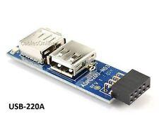 USB 2.0 9-Pin Header (2x5) to Dual USB A Female Port I Type Internal Adapter