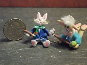 Dollhouse Miniature Clay Easter Bunny Rabbits Set 1:48 scale F60 Dollys Gallery