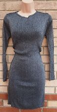 PRIMARK SILVER GREY GLITTER SPARKLY KNIT JUMPER BODYCON KNIT TUBE DRESS 10 S
