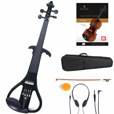 Cecilio Size 4/4 Electric Violin Ebony Fitted ~ Black Style4