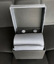 Tie & matching cuff links/pocket square/ Paul Smith- giftboxed/ light/dark blue