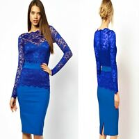 Sz 8 10 Blue Lace Long Sleeve Sexy Bodycon Formal Cocktail Party Slim Midi Dress