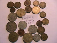 World Coins Mixed Lot of 22 Coins Mostly Older WWII and Post War Mixed Coinage
