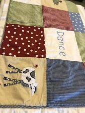 "Kimberly Grant Baby Blanket Quilt Dance Laugh Dream 46""x37"" Animals Checks Dots"
