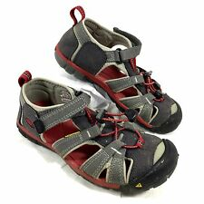 Youth KEEN Sport Sandals Whisper Gray & Red Sz 2 Youth EUC
