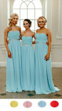 Chiffon Bridesmaid Dress Strapless Prom Formal Maxi Evening Gown Wedding Party