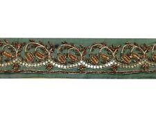 "Om Vintage Indian Sari Border Georgette Green Ribbon Lace Trim 2"" L278"