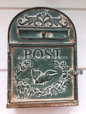 Rustic Vintage Style GREEN METAL MAILBOX Post Box Embossed Shabby Chic Primitive