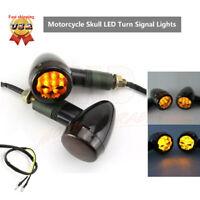 2X Amber LED Motorcycle Turn Signal Light Blinker Indicator Lamp Skull Universal