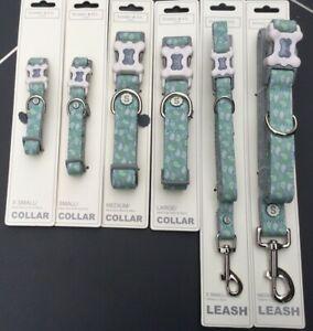 Sydney & Co  Lime / Grey Dog Collar & Leash Lead Various Sizes