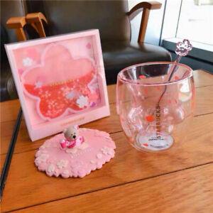 Starbucks Lovely Cat's Paw Sakura Double Glass W/ Lid&Stir stick&Coaster Cup set