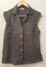"""Ladies Summer Linen Blouse Grey Cap Sleeves By Blite Bust 36""""<MP1522"""